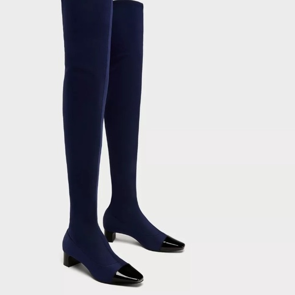 eccfdb2bf22 Zara navy blue black toe over knee high boots